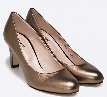 Pantofi aurii cu toc din colectia Gino Rossi