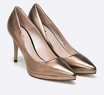 Pantofi aurii cu toc subtire din colectia Gino Rossi