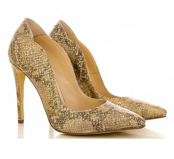 Pantofi cu toc CONDUR by alexandru cu imprimeu bej auriu