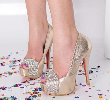 Pantofi dama Kim aurii cu toc si platforma