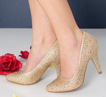 Pantofi dama Minogue aurii cu toc