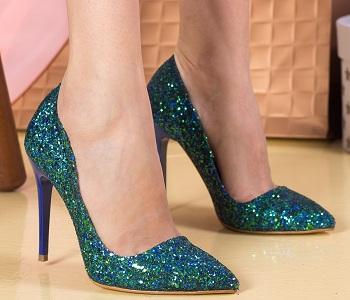 Pantofi dama Stiletto Cersei mix verde cu sclipici