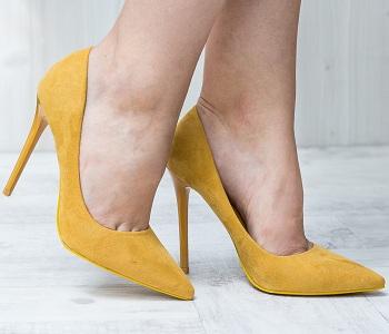 Pantofi dama Stiletto Chicoine galbeni cu toc subtire