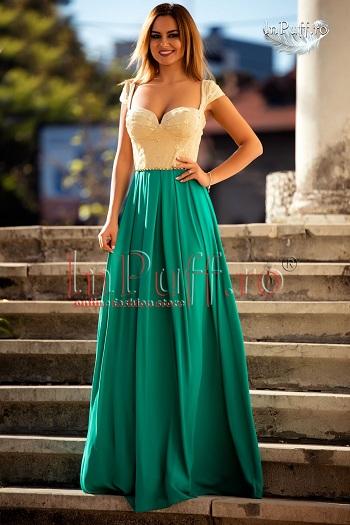 Rochie lunga turquoise si bust bej-auriu