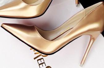 Pantofi Stiletto Aurii – 14 Pantofi Dama Aurii cu Toc Subtire
