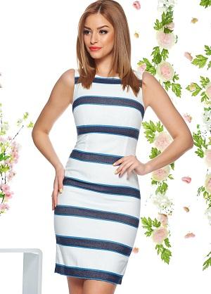 rochie alba cu dungi albastre