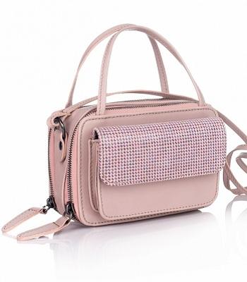Mini geanta RENA roz prafuit din piele naturala