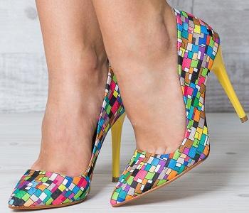 Pantofi dama Cersei Stiletto multicolor cu patratele