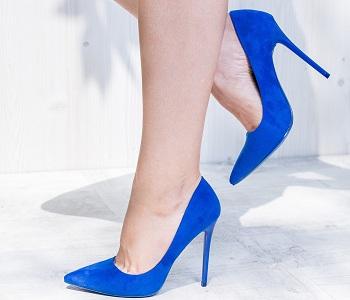 Pantofi dama Stiletto Chicoine albastri cu toc subtire