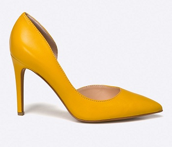 Pantofi galbeni cu toc subtire Solo Femme