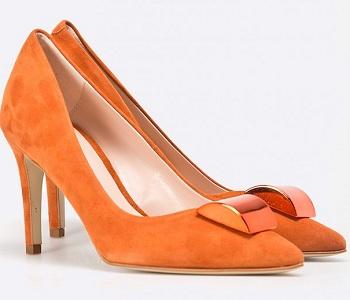 Pantofi stiletto portocalii din piele naturala