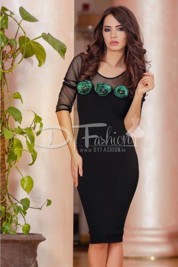 Rochie Black Green Flowers