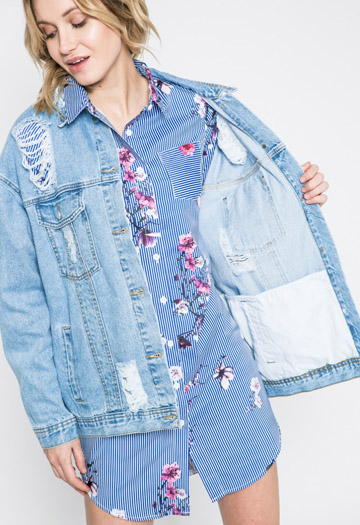 Geaca din denim oversized Missguided cu detalii decorative
