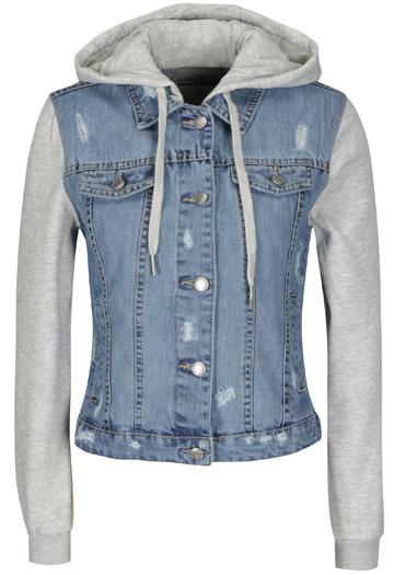 Jacheta albastra din denim cu maneci tip bluza - TALLY WEiJL